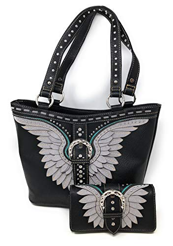 Nickanny's Set of Women's Concealed Carry Hobo Double Flat Strap Purse with Angel Wings and Buckle Design with Matching Wallet (Black)