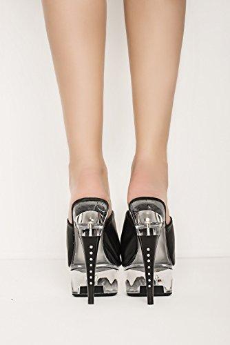 Amazinggirl High Heels Pantolette Flipflop Plateau klar transparent schwarz Kunstleder 36 37 38 39 40 Pvc Heels