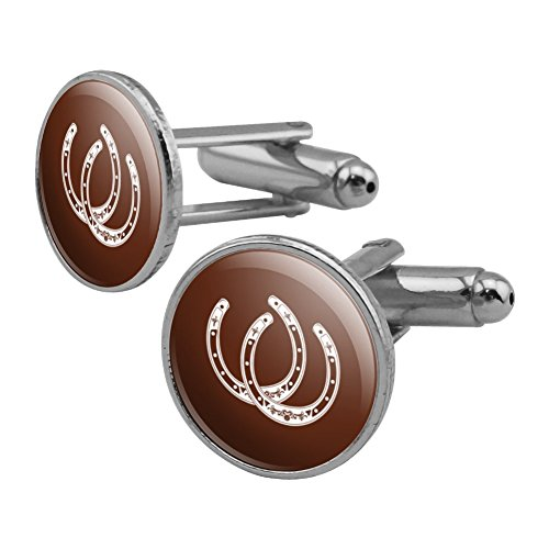 (Horseshoe Lucky Double Cowboy Brown Round Cufflink Set Silver Color)