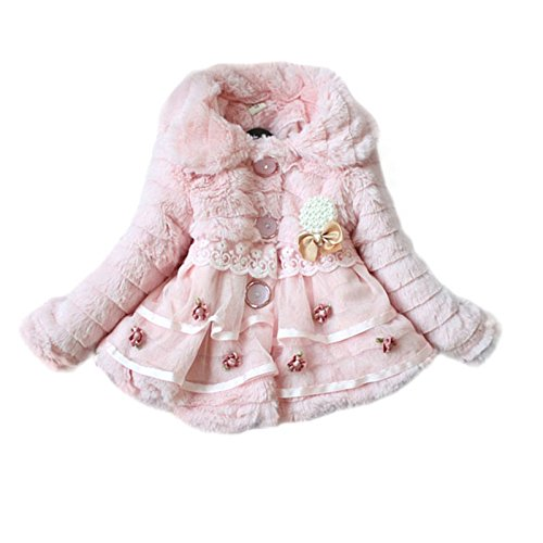 Weixinbuy Kids Girls Faux Fur Fleece Lapel Coat Winter Warm Jacket