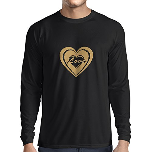 "Long sleeve t shirt men ""I Love you - Valentines day quotes"" great gifts (Medium Black Gold)"