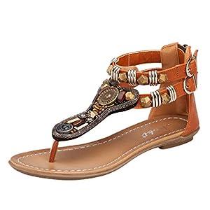 Sandali Infradito da Donna- Sandali da Donna da Estate, Open Toe Strass Flip Flop Sandali Estivi Scarpe da Spiaggia Basse Tacco Piatto Bohemia Decorate/Zarupeng