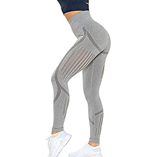 EHH Women's High Waist Seamless Leggings Tummy Control Compression Fit Yoga Pants Workout Tights M