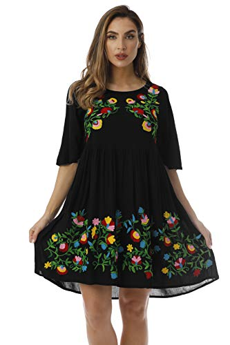Rayon Crepe Dress - Riviera Sun Rayon Crepe Short Dress with Multicolored Embroidery 21824-BLK-L Black