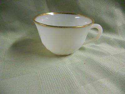 Vintage White Fire King - Vintage Fire King White Milk Glass Coffee Cup with Gold Trim Oven Ware Made USA