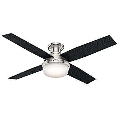 Hunter 59241 Dempsey Low Profile Brushed Nickel Ceiling Fan With Light & Remote, 52""