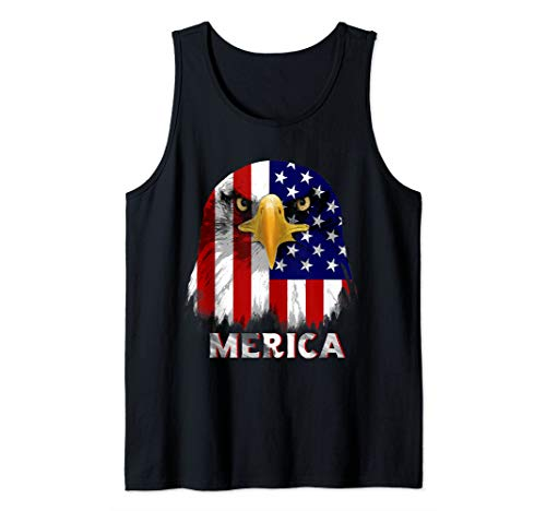 American Flag Bald Eagle 4th of July Patriotic Freedom USA Tank Top