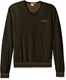 BOSS Orange Men\'s Kerpen Lightweight Merino Blend V-Neck Sweater, Winter Lawn, XX-Large