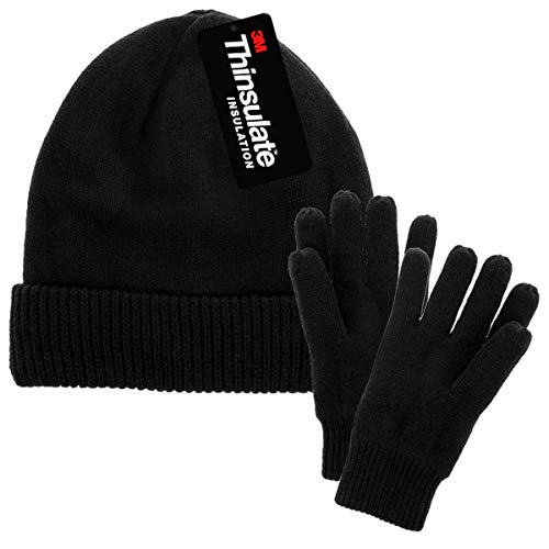 (DG Hill Mens Winter Hat And Gloves Set with 3M Thinsulate fleece lining, Black, One Size)