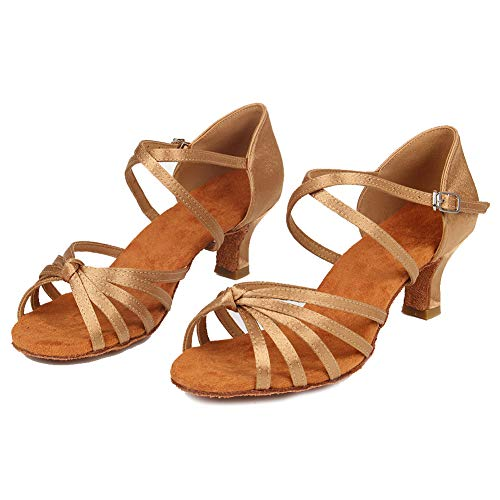Correas Baile Satén Cruzadas Salón 5cm De Rendimiento Zapatos Abierta Punta Mujeres Modelo Práctica Latino Con Hipposeus 1 Beige cl Wzj YwqtvRP