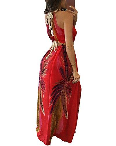 BIUBIU Women's Boho Chiffon Halter Summer Beach Party Cover up Dress Red L by BIUBIU (Image #2)