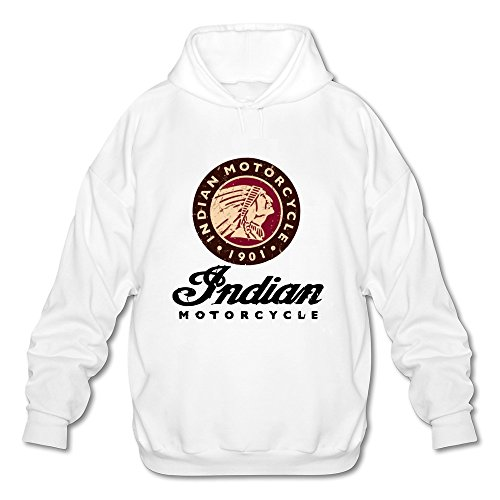 (JeFF Men's Indian Motorcycle Long Sleeve Sweatshirt Hoodies White XX-Large (US Size))