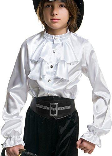 Child Boys White Premium Kids 2-Tier Ruffle Satin Pirate Shirt L - Girls Shirt Ruffled