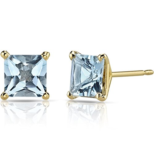 - 14K Yellow Gold Princess Cut 1.75 Carats Aquamarine Stud Earrings