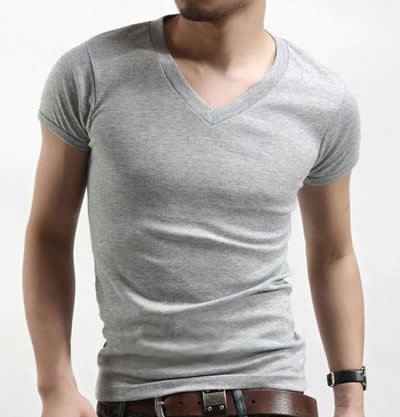 3c8c0c6e3a76 New Mens Slim Fit V-neck/crew neck T-shirt Short Sleeve Muscle Tee Size S M  L XL