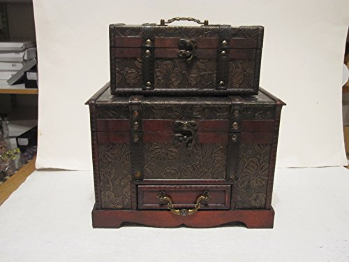 Antique Looking Wood Faux Leather Jewelry Box Treasure Chest Set of 2 Treasure Chest Set