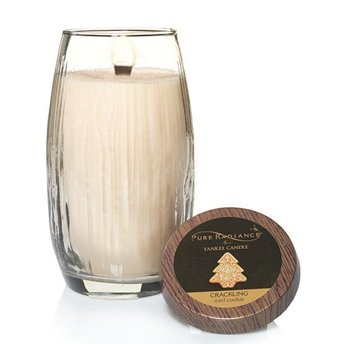 Yankee Candle Iced Cookie Large Crackling LumiWick Vase Candle (Oil Unity Candle Glass)