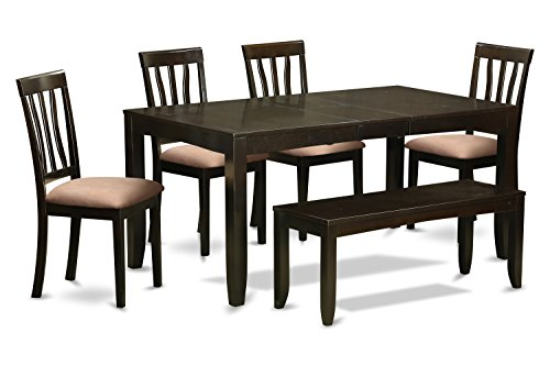East West Furniture LYAN6-CAP-C 6-Piece Dining Table Set, Cappuccino Finish (Cappuccino Finish Slat Design)