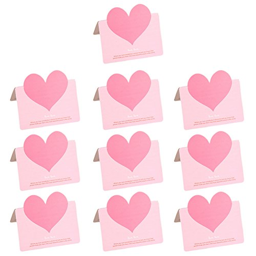Qifumaer 10 Pcs Love Heart Card Folding Greeting Card (With Envelope) Father's Day/New Home/Baby Shower/Easter Halloween/Congratulations/Graduation -
