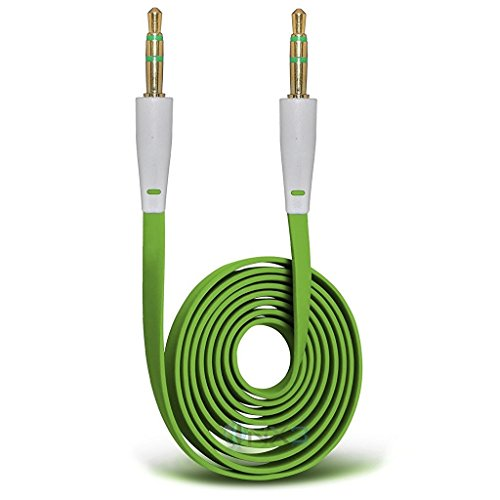 ONX3 (Green) HTC Desire 625 Gold Plated 3.5mm Jack To Jack Connection Aux Auxiliary Audio Flat Cable (625 Silver Metal)