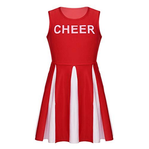 Alvivi Kids Girls Cheer Leader Costume Cheerleading School Uniform Squad Pleated Skirt Fancy Dress up Red 10 -