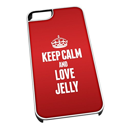 Bianco cover per iPhone 5/5S 1187Red Keep Calm and Love Jelly