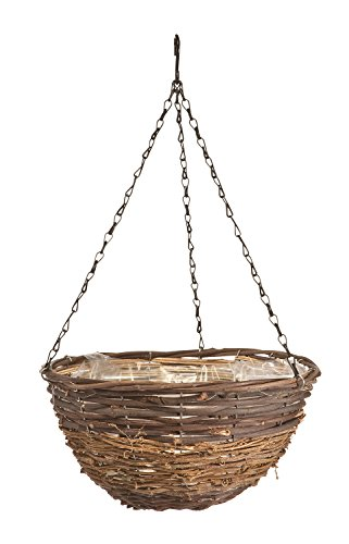Panacea 88632 Rattan Natural Hanging Basket, Black and Yellow, (Rattan Hanging Basket)