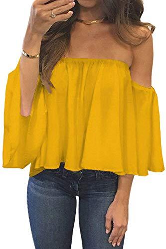 (BLUETIME Women Summer Short Sleeve Off Shoulder Tops Casual Shirt Blouses Bell Sleeve Chiffon T Shirts (XXL, Mustard))