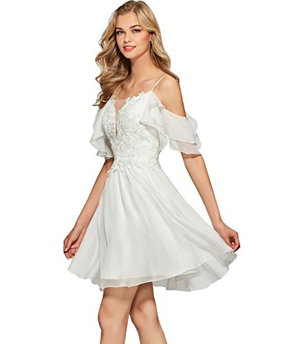 Women's A Line Deep V Neck Off The Shoulder Chiffon Short Homecoming Dress Lace Formal Evening Prom Gown Size 12 White