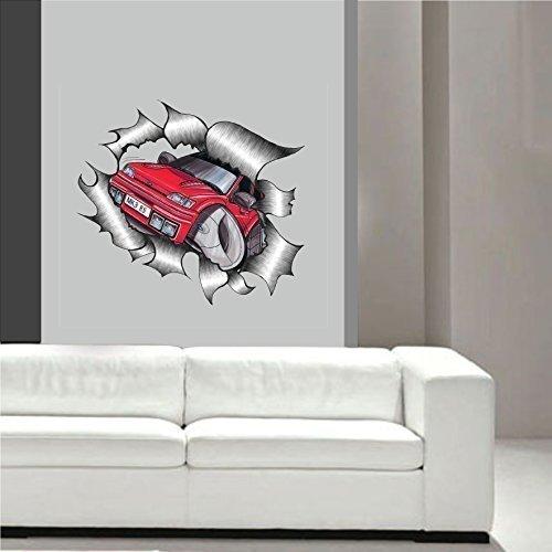 Cartoon grabados de vetas de diseño de metal para MK3 de Koolart FORD Fiesta RS Turbo RST Arte de la pared adhesivo Habitación de los niños taller, ...
