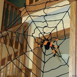 spider and giant 10 foot rope spiderweb halloween decorations 2 pc set includes a - Halloween Decorations Spider Web