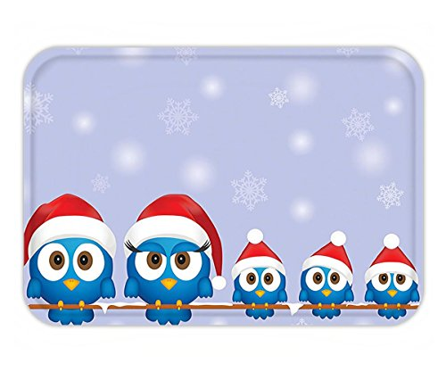 Minicoso Doormat Christmas Decorations Collection Funny Bird Family with Santa Hats on Electricity Wire Winter Holiday Season Humor Blue Red (Doormats Christmas Frontgate)