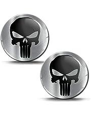 Biomar Labs® 2 x sticker 3D gel silicone punisher schedel doodskop zilver stickers autosticker auto motorfiets raam KS 185
