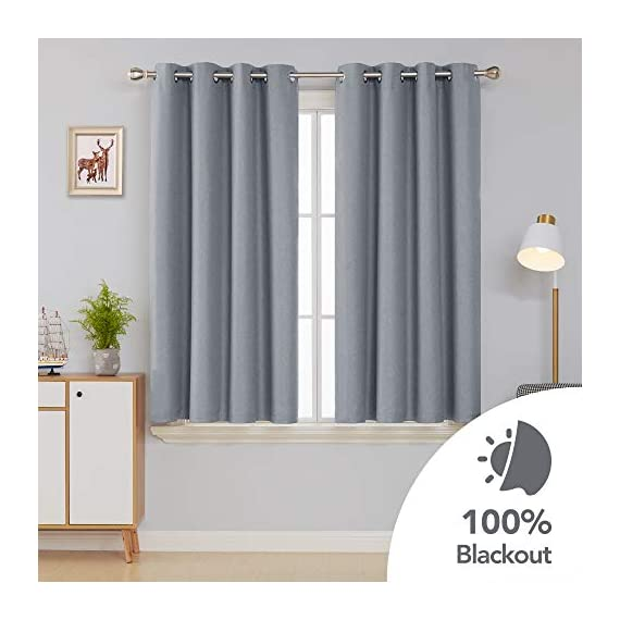 Deconovo Complete Blackout Curtains Faux Linen Thermal Insulated Room Darkening Energy Saving Noise Reduction Grommet Draperies for Small Window Grey 52W x 54L Inch Set of 2 - Available in 5 different colors and 6 sizes options(52x45 inch, 52x54 inch, 52x63 inch, 52x72 inch, 52x84 inch, 52x96 inch). Please select the appropriate products according to your requirements. Deconovo faux linen blackout curtains are made from 100% high quality polyester fabric, imported. These blackout curtains with coating layer, faux linen fabric and a thin layer of fabric was added to the back of the coating, so as to enhance their blackout and insulating functinons. Deconovo total blackout curtains are soundproof, so it can reduce noise and offer you a real dark envirnment and bring you a good sleep during the day time and night. - living-room-soft-furnishings, living-room, draperies-curtains-shades - 41U8J4Hy5YL. SS570  -