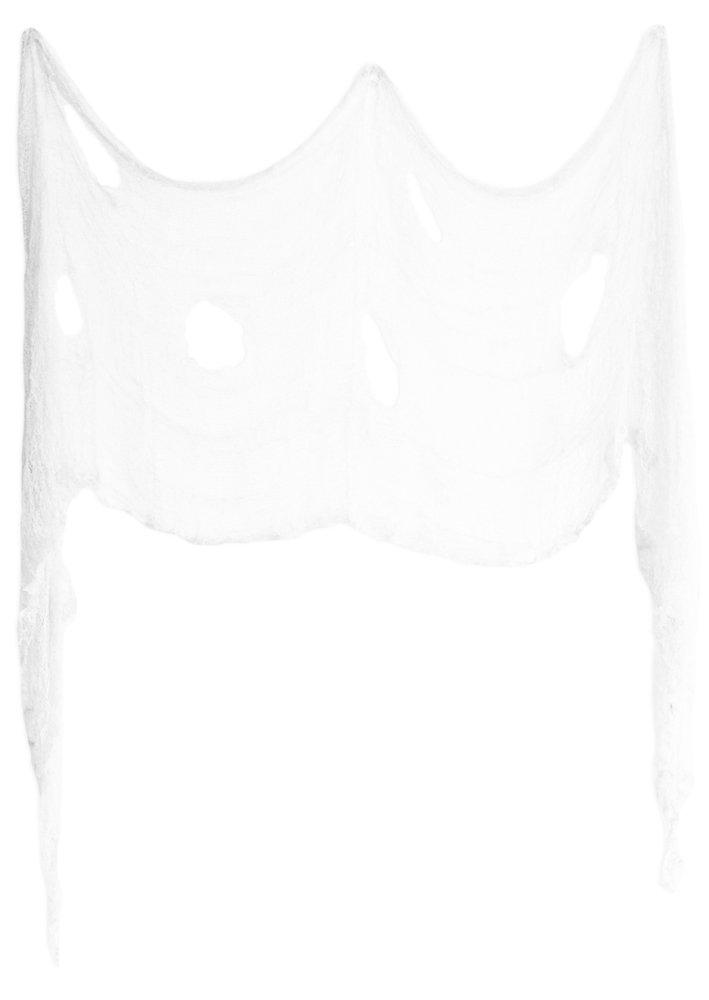 Wei/ß Funny Fashion XXL Spinnennetz 400 x 76 cm Gruselige Halloweendeko zerschlissenes Tuch Dekoration Spinnenwebe