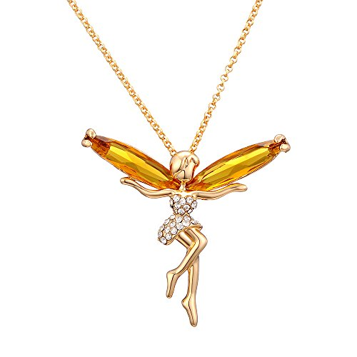 [18k Gold-Plated Austrian Crystal Tinkerbell Pendant Necklace Afterglow Jewelry] (Tinkerbell Fairy Costumes For Women)