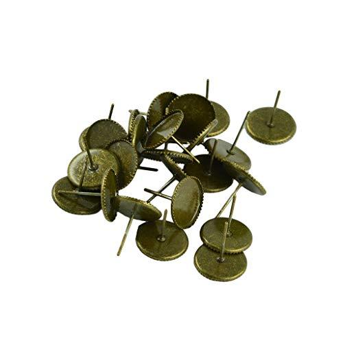 (24pcs 10mm Blank Stud Earring Bezel Cabochon Setting Brass Post Earrings (Color - Bronze))