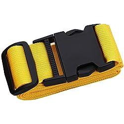 """Adjustable Travel Luggage Strap, Nylon Suitcase Belt Luggage Tage Set to Keep Your Luggage Organized and Secure, 43""""-78"""" Adjustable/Yellow"""