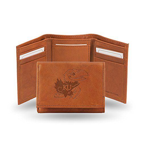 Rico Industries NCAA Kansas Jayhawks Embossed Leather Trifold Wallet, Tan