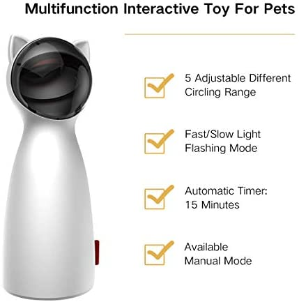 goopow Cat Laser Toy Automatic,Interactive Toy for Kitten Dogs,USB Charging/Battery Powered, Placing High,5 Random Pattern,Automatic On/Off and Silent, Fast/Slow Light Flashing Mode 4