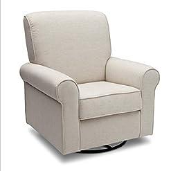 Living Room Delta Furniture Avery Upholstered Glider Swivel Rocker Chair, Sand