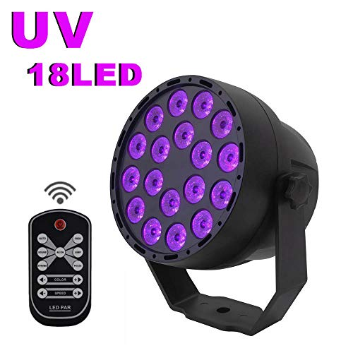 UV Black Lights Led Stage Lights 7 Modes 18 x 3W LED Par Lampe UV Blacklight with Glow Disco Lighting Supply by DMX512 IR Remote Control Stage Lights for Halloween Family Parties KTV Bar DJ Club
