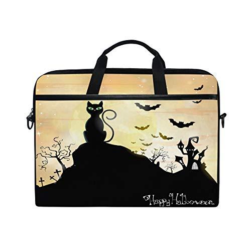 (Laptop Computer Bag Free-Vector-Silhouette-Halloween-Wallpaper Notebook Shoulder Messenger Cases Packs for Women Men (15-15.4 in))