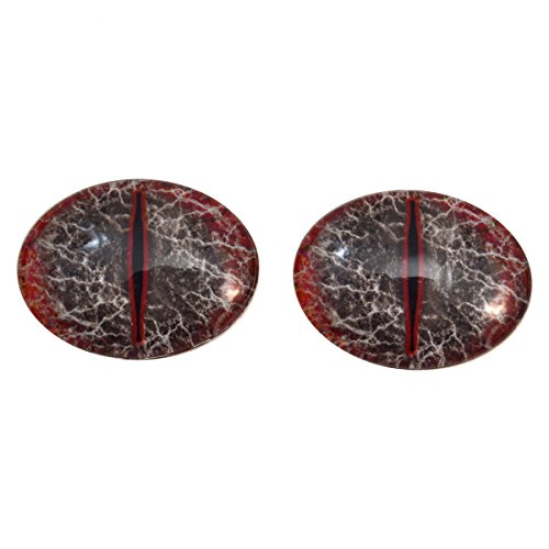Red and Black Dragon Oval Glass Eyes Fantasy Taxidermy Art Doll Making, Fantasy Sculptures or Jewelry Crafts Set of 2 (18mm x 25mm) -