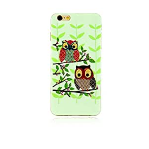 Eternal-lzl Green Smooth TPU Flex Silicone Snap on Soft Jelly Case for Iphone 6 ( 4.7 Inch ) Cute Birds Owl Leaves Premium Rugged Rubber Matte Protective Soft Feel Coated Skin Shell Back Gel Cover