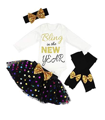 Uaena Baby Girl First New Year Tutu Dress Outfit My 1st New Year Romper + Leg Warmers + Headband+Tutu Dress