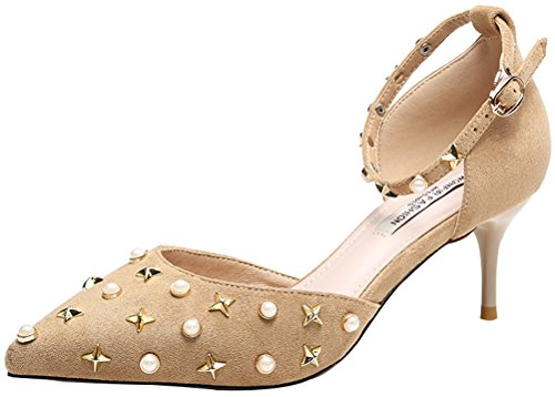 Passionow Women's Cool Rivet-Studded Beads Pointed Toe D'Orsay Ankle Strap Stiletto Pumps (7.5 (Jack And Sally Costumes Uk)
