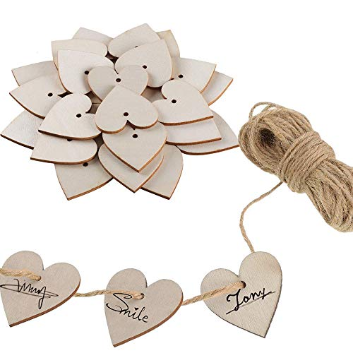 Wood Heart FJSM 100pcs Personalized Wooden Heart Embellishments Favors Wood Cutouts Slices Pendant for Weeding Wood Crafts DIY Card Making Party Decoration(40mm)