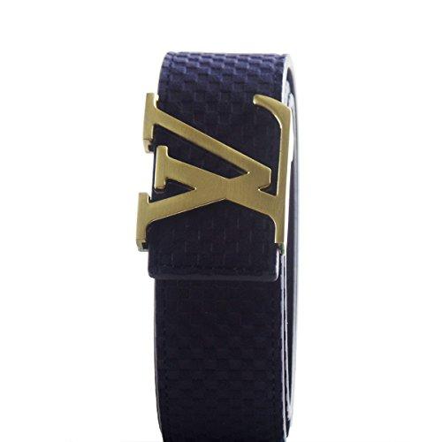 Designer Belt Buckle (Gifts Are Blue Designer Inspired Mens Blue Belt (29/30, Gold)