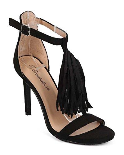 - Women Suede Open Toe Fringe T-Strap Single Sole Sandal ED35 - Black (Size: 6.5)